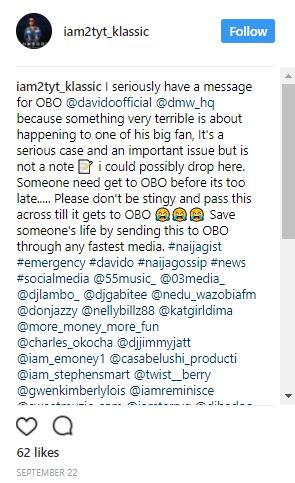 Singer Klassic reportedly reached out to Davido on Instagram warning him about an impending tragedy days before he lost his friends