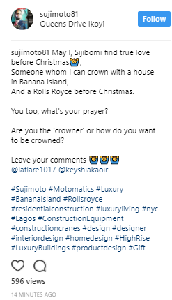 Ladies get in here! Billionaire real estate developer Sujimoto is looking for true love & wants to give the lucky lady a house in Banana Island & Rolls Royce before Christmas