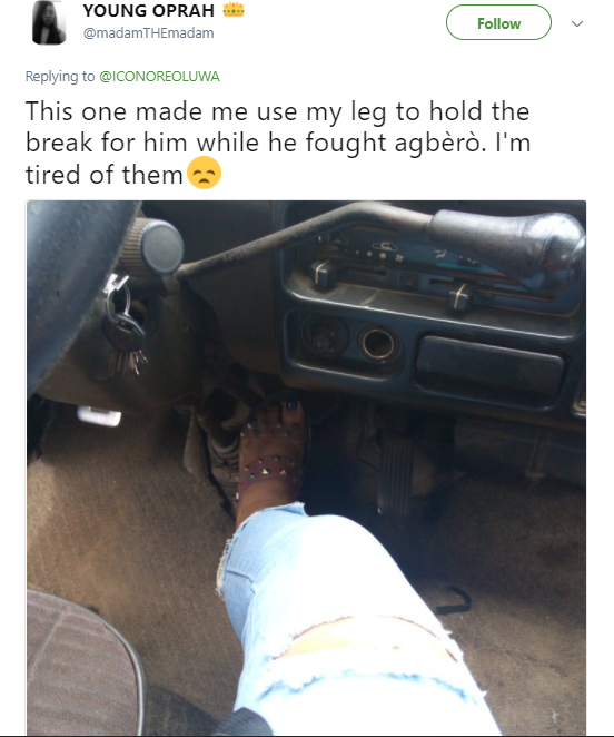 Lagos driver makes female passenger step on the brake for him so he could go fight an agbero