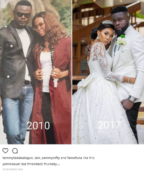 Yomi Casual shares side by side photo of himself & new wife, Grace back in 2010 and on their wedding day in 2017