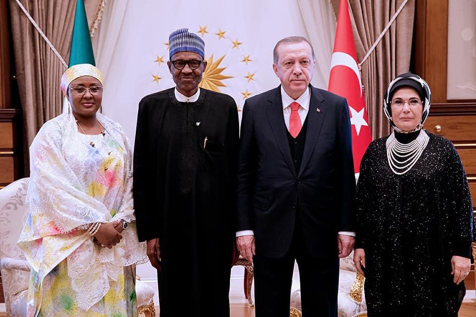 Photos: President Buhari, wife Aisha and daughter Hanan meet Turkish president and his wife