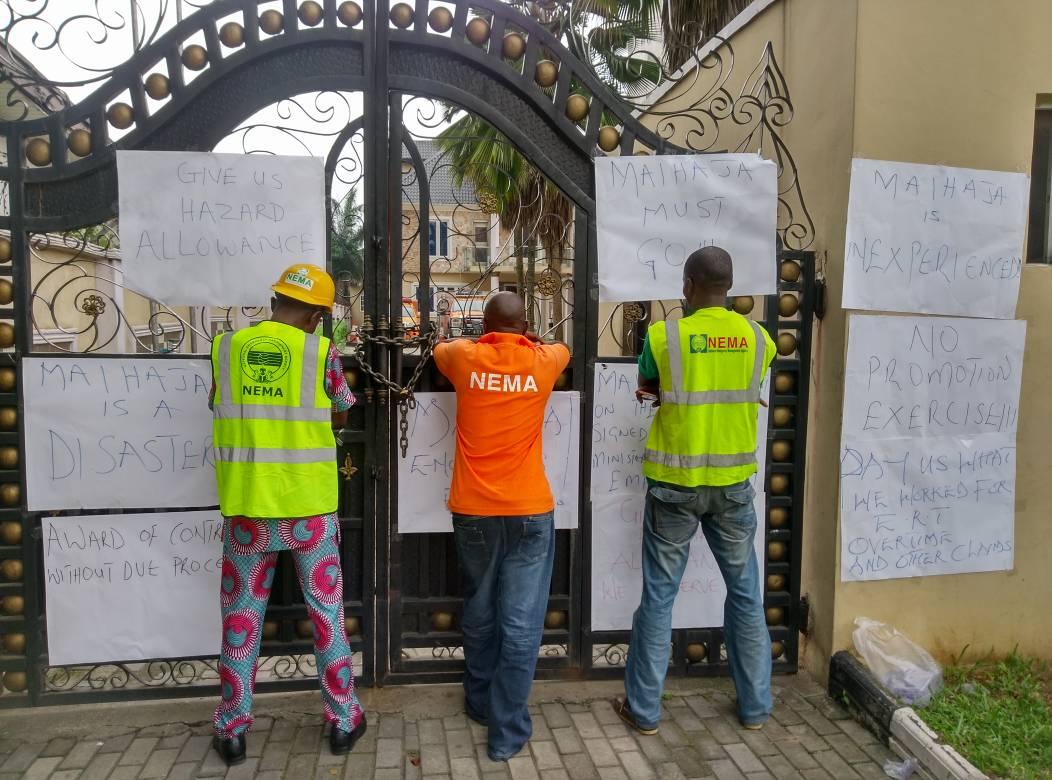 Photos:  NEMA staff begin indefinite strike, close all zonal offices