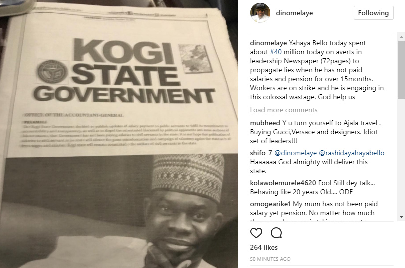 Dino Melaye attacks Kogi state governor Yahaya Bello, accuses him of engaging in colossal wastage