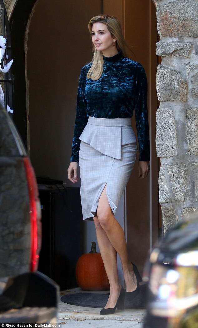 Photos: Ivanka Trump dons figure-hugging velvet turtleneck and sharp gray pencil skirt as she steps out of her Washington D.C home