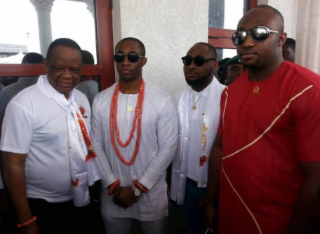Crown Prince of B?nin Kingdom, Ezelekhae Ewuare pictured with Davido today