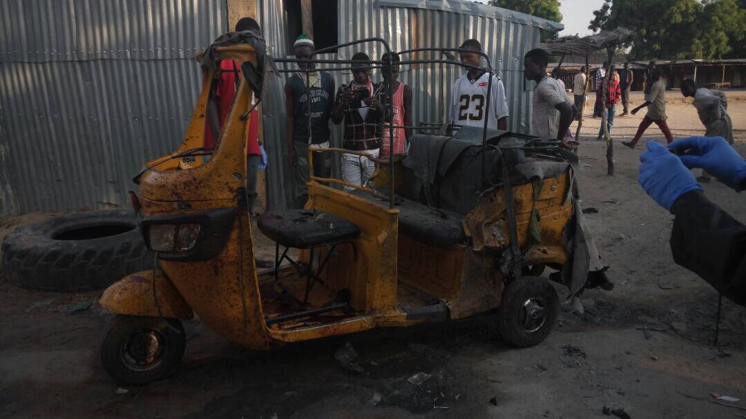 More photos: 14 killed, 23 injured  by suspected Boko Haram suicide bombers at a motorpark in Maiduguri