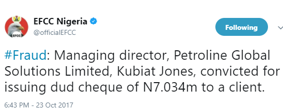 MD of Petroline Global Solutions, Kubiat Jones, convicted for issuing dud cheque of N7.034m?