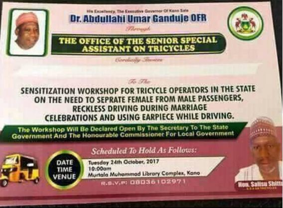 Viral photo of an invitation card for an event hosted by the office of special assistant on tricycles in Kano state