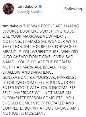 """You guys are the problem not that marriage is bad.. This shallow and impatience generation."" Timi Dakolo speaks on the rapid increase in divorce"