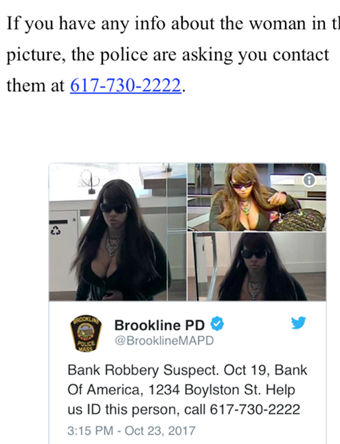 US Police declare curvy woman wanted after she robbed Bank Of America in Massachusetts with her cleavage on display