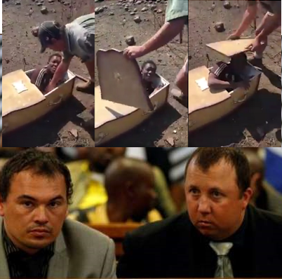 The white South African farmers who forced a black labourer into a coffin have been sentenced to more than 10 years in prison each