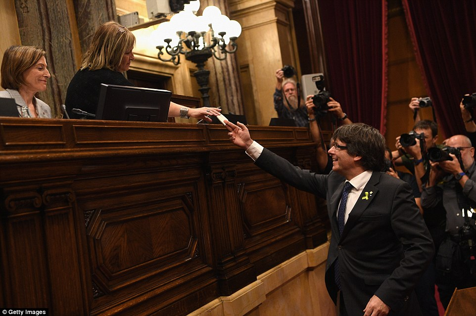 Catalonia declares independence from Spain prompting the central government to impose direct rule leading to fear of violence