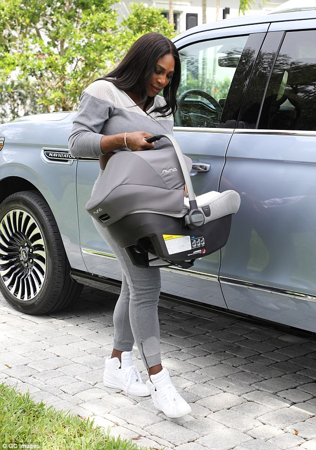 Proud mother Serena Williams steps out with baby daughter, Alexis Olympia Ohanian Jr in Florida (Photos)