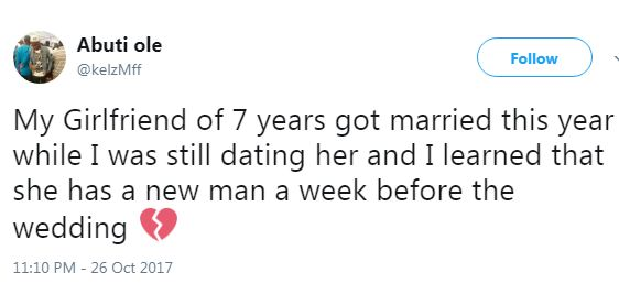 Man narrates how his girlfriend of 7 years got married while they were still dating
