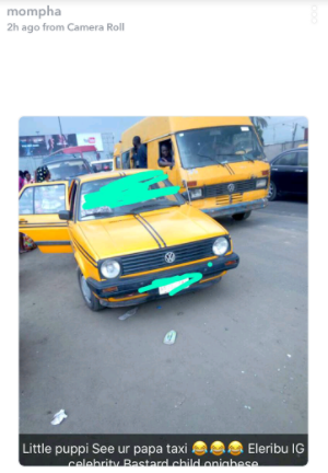 Mompha shares photo of the yellow taxi allegedly being used by Hushpuppi