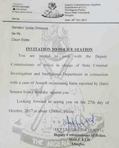 6-months after,?Police invites?Senator Iyiola Omisore over alleged assault on late Senator?Adeleke
