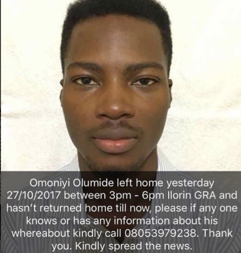 Unilorin Post Graduate student,?Omoniyi Olumide declared missing