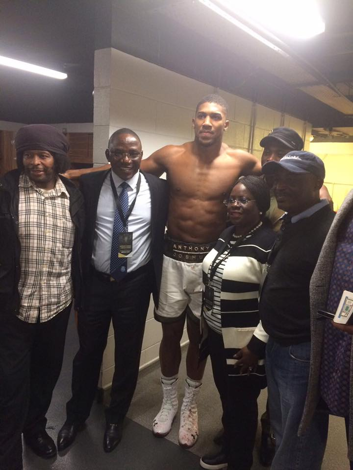 Photos of Minister of Sports, Solomon Dalung with Nigerian-British heavyweight champion, Anthony Joshua after his fight with Carlos Takam