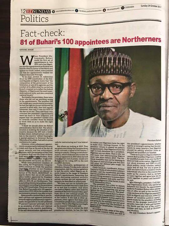 81 out of 100 appointments made by Buhari are Northerners, see table showing names and geographical zones of all appointees