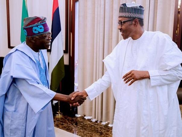 Buhari all smile as he receives Tinubu in Aso Rock (Photos)