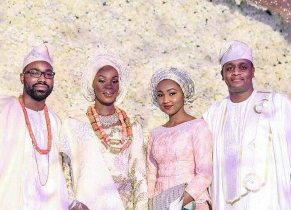 Photo of Zahra Buhari-Indimi and her husband, Ahmed, with Senate President, Bukola Saraki