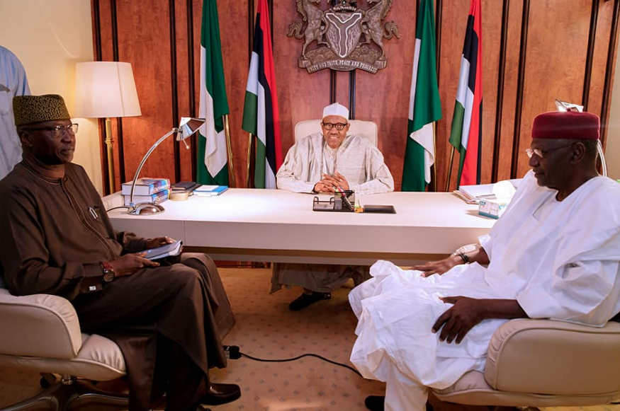 Photos:?President Buhari receives newly appointed SGF, Boss Mustapha at the State House?