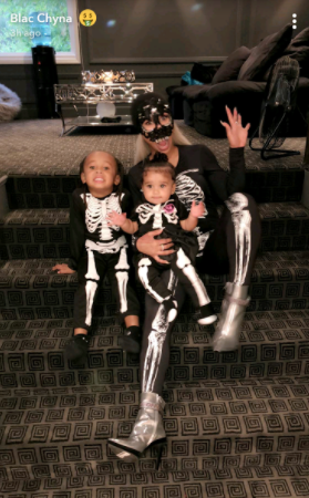 Blac Chyna and her kids dress up in skeleton costumes for Halloween (photos)