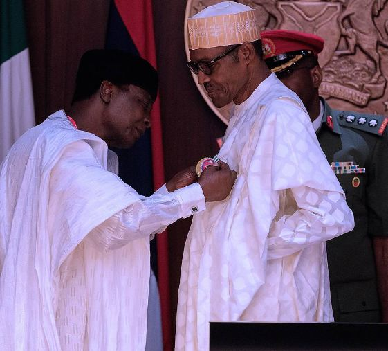 President Muhammadu Buhari Swears in the new Secretary to the Government of the Federation (SGF), Mr. Boss Mustapha