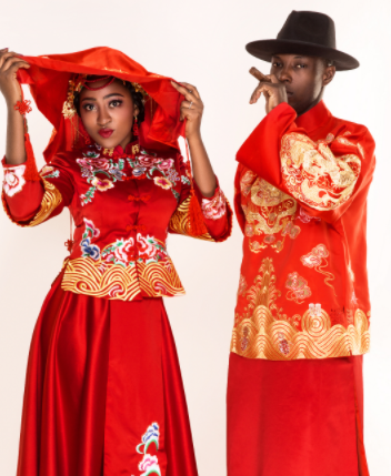Super Eagles striker Anthony Ujah & wife, Elizabeth strike poses during a Chinese themed photo-shoot