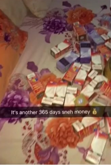 Young Nigerian Man shows the shocking amount of codeine & tablets he used to celebrate his birthday with friends