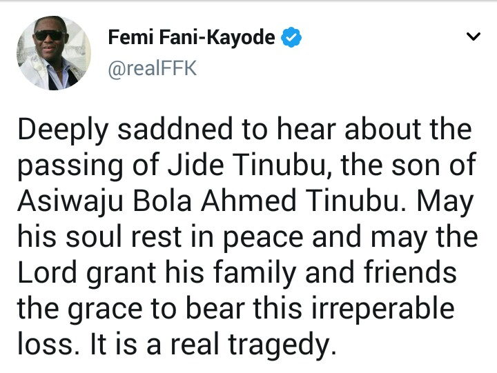 Despite political differences, FFK condoles with Bola Tinubu on the death of his son Jide