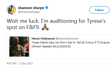 Former NFL player Shannon Sharpe mocks Tyrese after he threatens to leave Fast and Furious 9