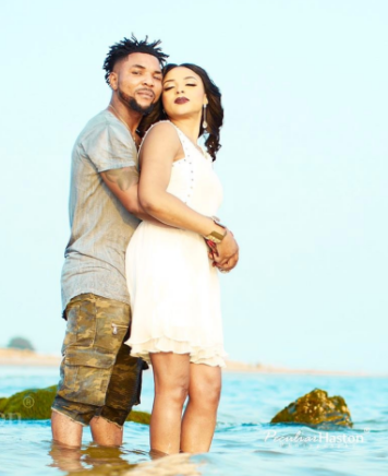 More beach themed pre-wedding photos of Oritsefemi and his wife, Nabila