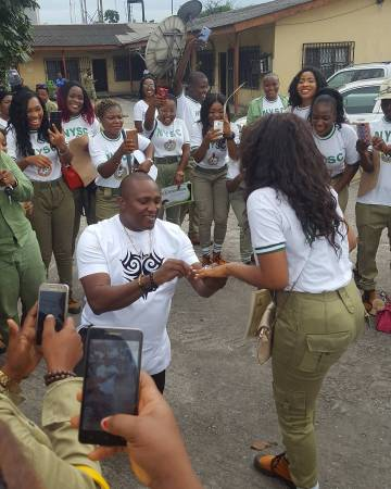 Photos: Man proposes to his girlfriend at her NYSC passing out parade in Port Harcourt