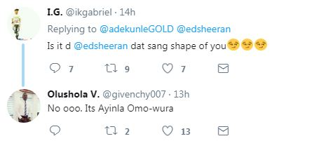 Checkout Adekunle Gold hilarious reply to her Twitter user who asked him which ED Sheeran he met