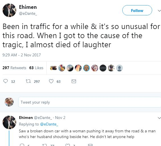Twitter user narrates how a man forced his wife to push their broken down car alone in traffic after she spent the money he gave her for the car