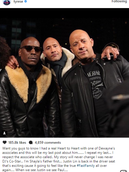 Tyrese Gibson thanks his wife and reconciles with Dwayne Johnson as abuse investigation is dropped by Child Service Officials