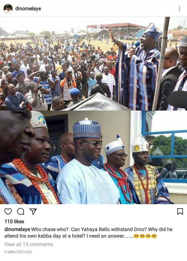 """Who chase who?"" Senator Dino Melaye mocks Governor Bello for snubbing Kabba Day celebration"