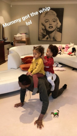 Mikel Obi spends daughter-daughter time with his twin girls, Ava and Mia (photos)