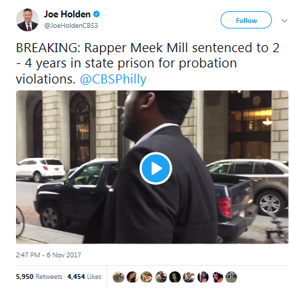 Meek Mill sentenced to 2-4 years in prison for multiple probation violations