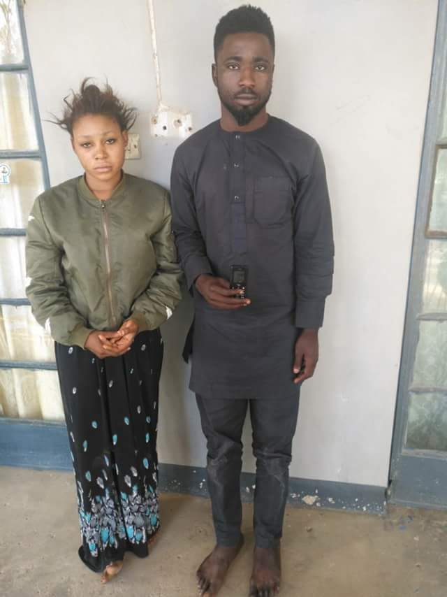 Photos: Kano Police arrest fraudster and his pretty girlfriend who disguise as traders, buy goods from markets and pay by sending fake credit alerts