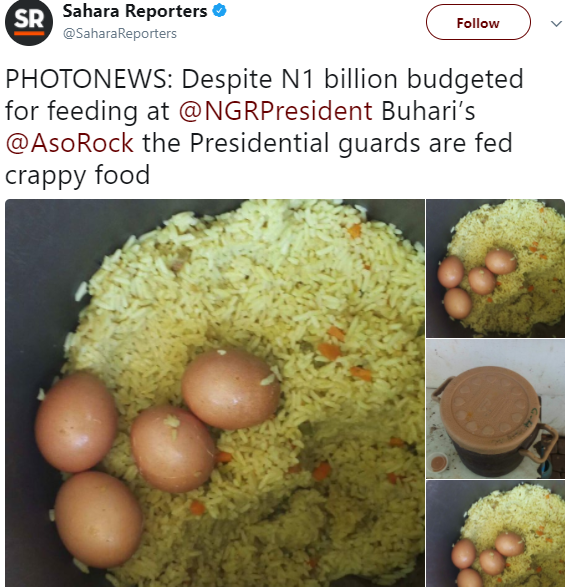 Photos of the food being served to the presidential guards at the State house, Abuja
