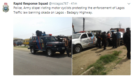 Police dispel rioting motor cyclists protesting the enforcement of the Lagos Traffic law banning okada