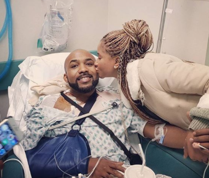 BankyW recovers from successful 3rd surgery he had on a rare strain of skin cancer tumors found in his shoulder (photos)