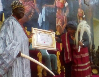 Uh uh! Liberian president bags Chieftaincy title in Imo (photos)