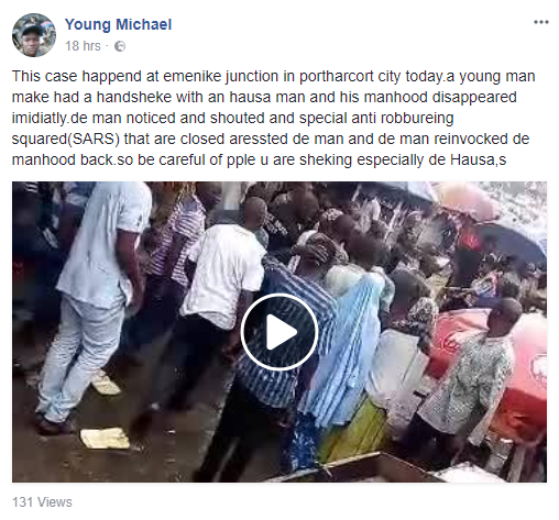 Lol. Man allegedly returns penis he stole with a handshake in Port-Harcourt after SARS intervenes