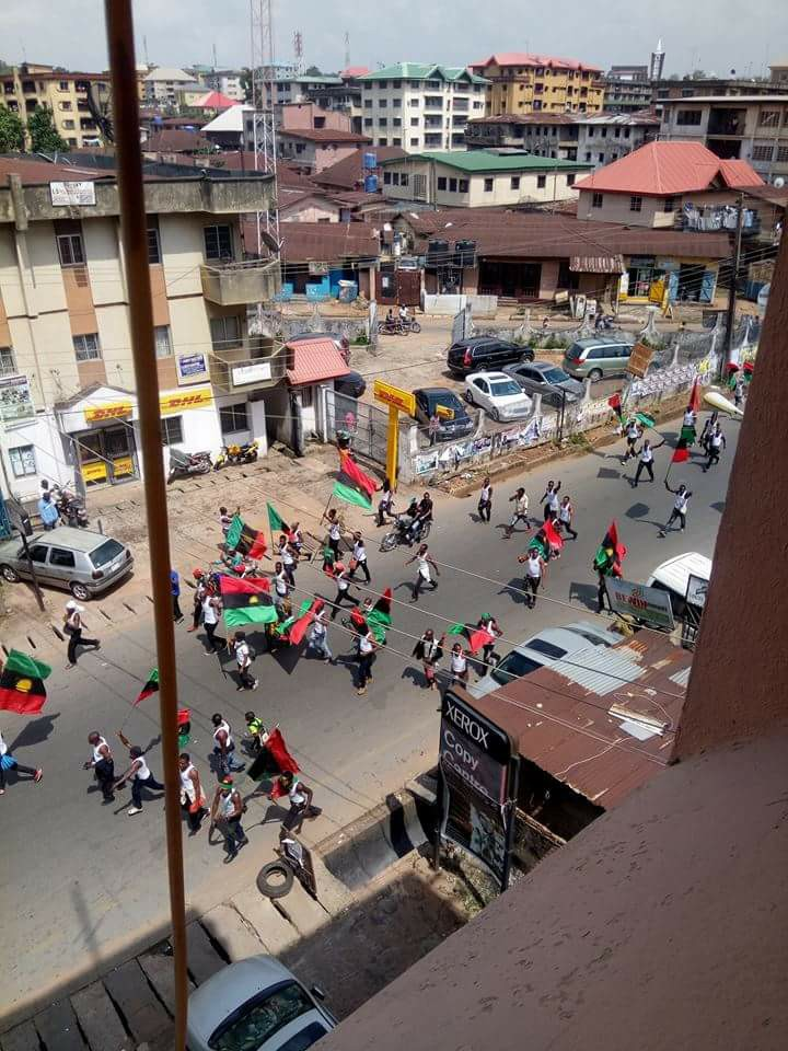 Photos: IPOB members defy ban, stage protest in Onitsha