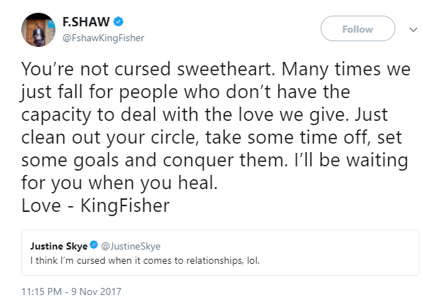 Former EFCC handler, F-Shaw consoles Justin Skye who says she
