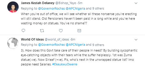 Nigerians on twitter slam Okorocha for unveiling statue of Liberian President, Ellen J. Sirleaf in Imo State today