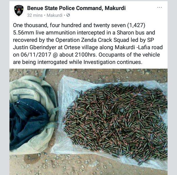 Photo: Police intercept vehicle carrying one thousand, four hundred and twenty seven (1,427) 5.56mm live ammunition in Benue State